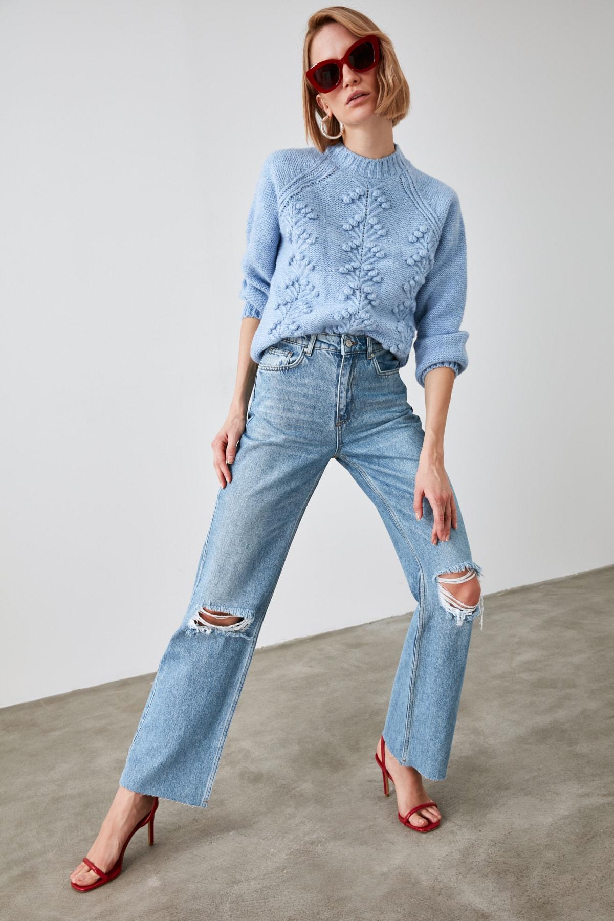 1 org zoom Mavi Yırtık Detaylı Yüksek Bel Wide Leg Jeans TWOAW21JE0539