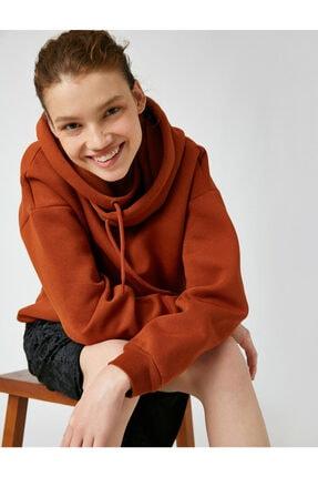 Kadın Kahverengi Kapüsonlu Uzun Sweatshirt 1KAL68169OK