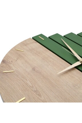 Yedi Home&Decor Wooden Sections Ahşap Modern El Yapımı Duvar Saati 5024_grass Green 0