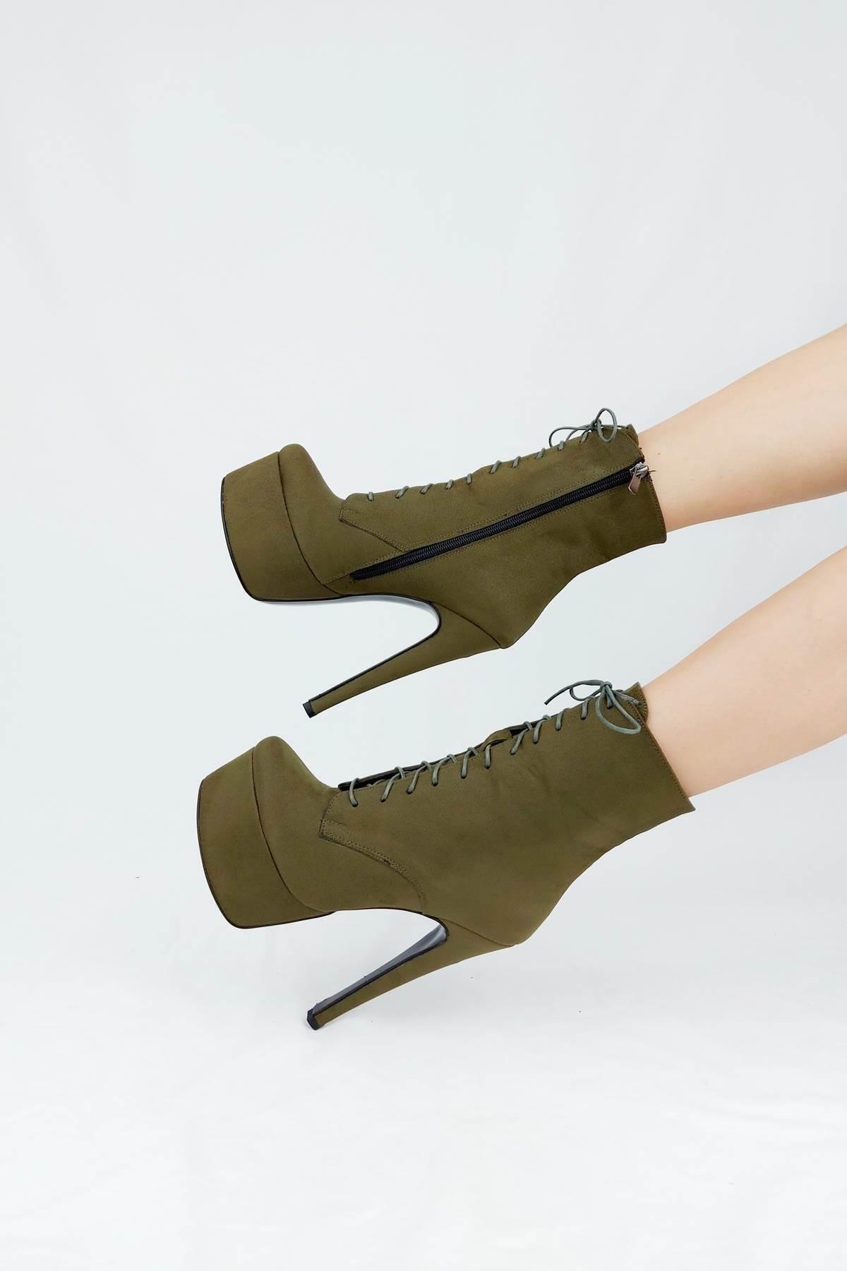 Ayakkabı Ateşi Kadın Haki Yeşil Süet Yüksek Topuklu Bot