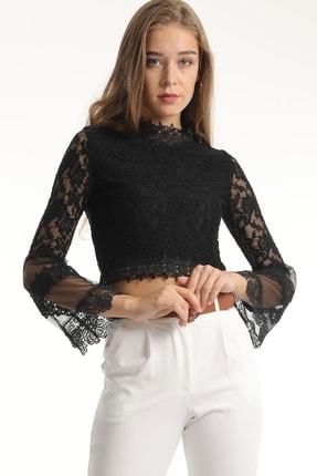 MD trend Kadın Siyah Dantelli Tül Detaylı Crop Bluz 1