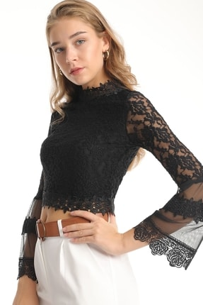 MD trend Kadın Siyah Dantelli Tül Detaylı Crop Bluz 3