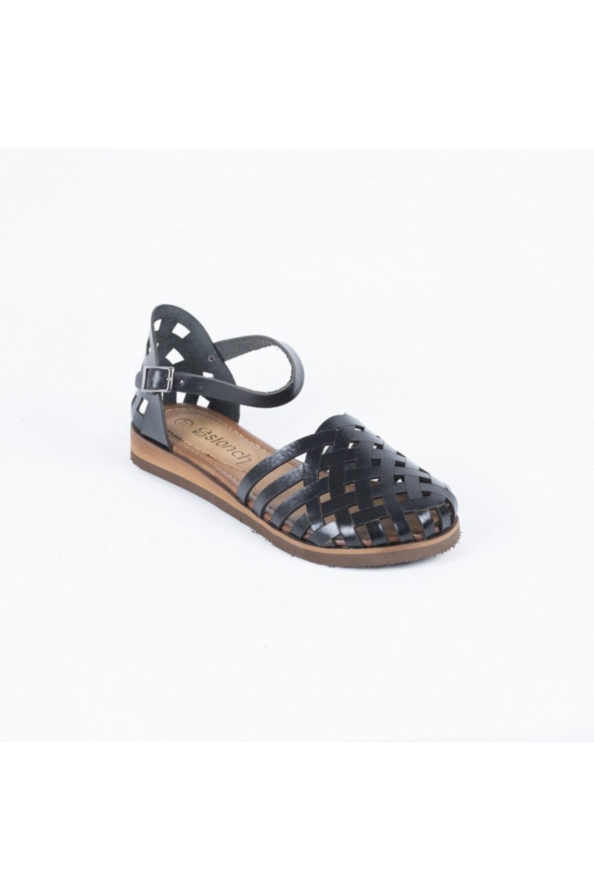 Dericlub Kadın Siyah Gerçek Deri Sandalet 035