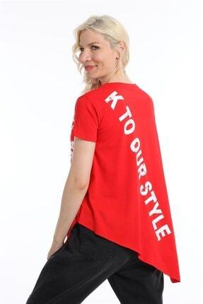 ZİNCiRMODA Kadın Kırmızı Asimetrik Kesim Baskılı Tshirt 3