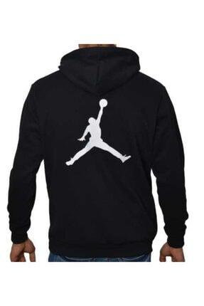 YOUWINNER Erkek Siyah Kapüşonlu İplik Air Jordan Baskılı Tshirt 0