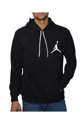YOUWINNER Erkek Siyah Kapüşonlu İplik Air Jordan Baskılı Tshirt 2