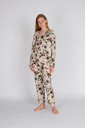 Hays Kadın Bej Büyük Beden Vegan Pijama Takımı 1