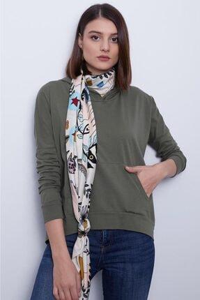 TAKE7 Kadın Haki Kapüşonlu Uzun Kollu Kanguru Cepli Basic Örme T-shirt 2