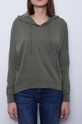 TAKE7 Kadın Haki Kapüşonlu Uzun Kollu Kanguru Cepli Basic Örme T-shirt 3