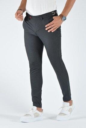 Terapi Men Erkek Antrasit Çizgili Slim Fit Keten Pantolon 20k-2200369 2