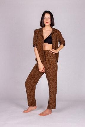 Hays Kadın Kahverengi Vegan Cupro Püskül Detaylı Pijama Takımı 1