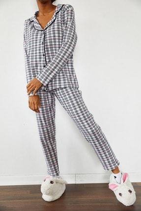 Xena Kadın Beyaz Kareli Örme Pijama Takımı 1KZK8-10834-01 1