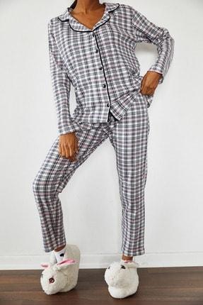 Xena Kadın Beyaz Kareli Örme Pijama Takımı 1KZK8-10834-01 2