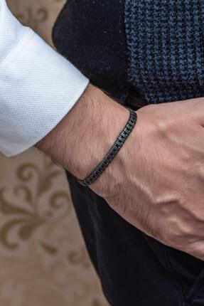 Gümüş Tezgahi Sıralı Hematit Taşı Makrome El Örgüsü Erkek Bileklik 2