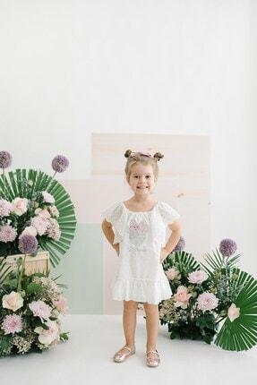 MINNIE MOUSE Disney Minnie Mouse Kız Çocuk Ekru Beyaz Pamuklu Payet Pullu Dantelli Elbise SUM-15505 0