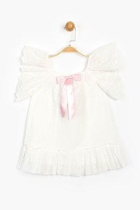 MINNIE MOUSE Disney Minnie Mouse Kız Çocuk Ekru Beyaz Pamuklu Payet Pullu Dantelli Elbise SUM-15505 4