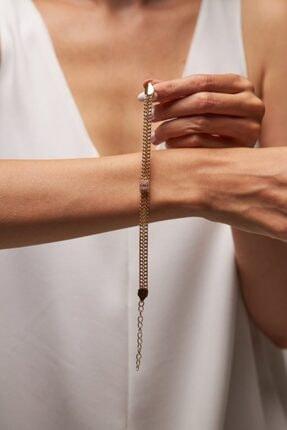 Merias Design Kadın Tasarım Altın Kaplama Zirkon Taşlı Gold Bileklik 0