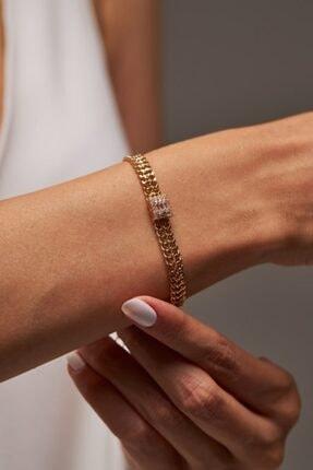 Merias Design Kadın Tasarım Altın Kaplama Zirkon Taşlı Gold Bileklik 1