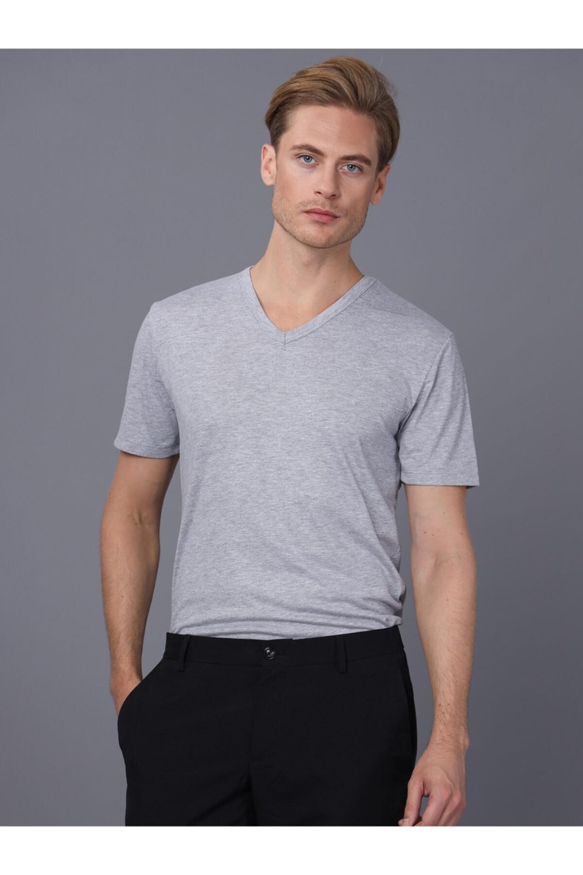 Basics&More Erkek Gri V Yaka T-Shirt
