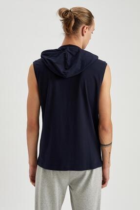 Defacto Slim Fit Baskılı Kapüşonlu Kolsuz Tişört 3