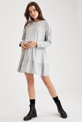 Defacto Kadın Gri Volan Detaylı Hamile Sweat Elbise 0