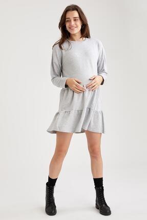 Defacto Kadın Gri Volan Detaylı Hamile Sweat Elbise 1