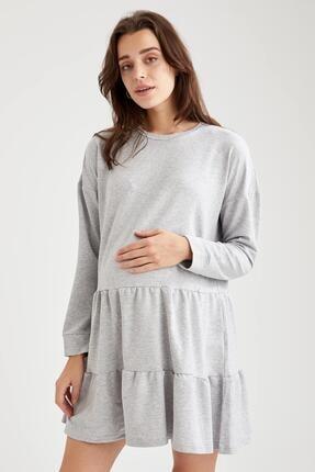 Defacto Kadın Gri Volan Detaylı Hamile Sweat Elbise 4