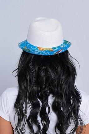 Mossta Unisex Beyaz Yelken Şeritli Hasır Şapka 2