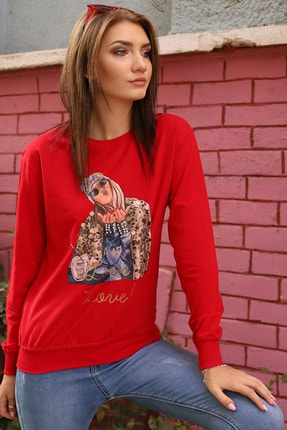 Alegria Kadın Kırmızı Önü Baskılı Pul Taş İşlemeli Sweatshirt 0
