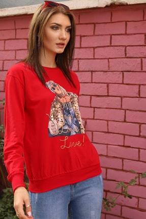Alegria Kadın Kırmızı Önü Baskılı Pul Taş İşlemeli Sweatshirt 2