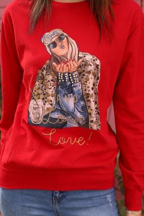 Alegria Kadın Kırmızı Önü Baskılı Pul Taş İşlemeli Sweatshirt 4