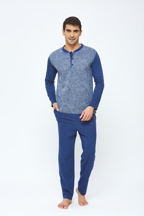Erkek 4 Mevsimlik Pamuklu Büyük Beden Pijama Takımı - Indigo resmi