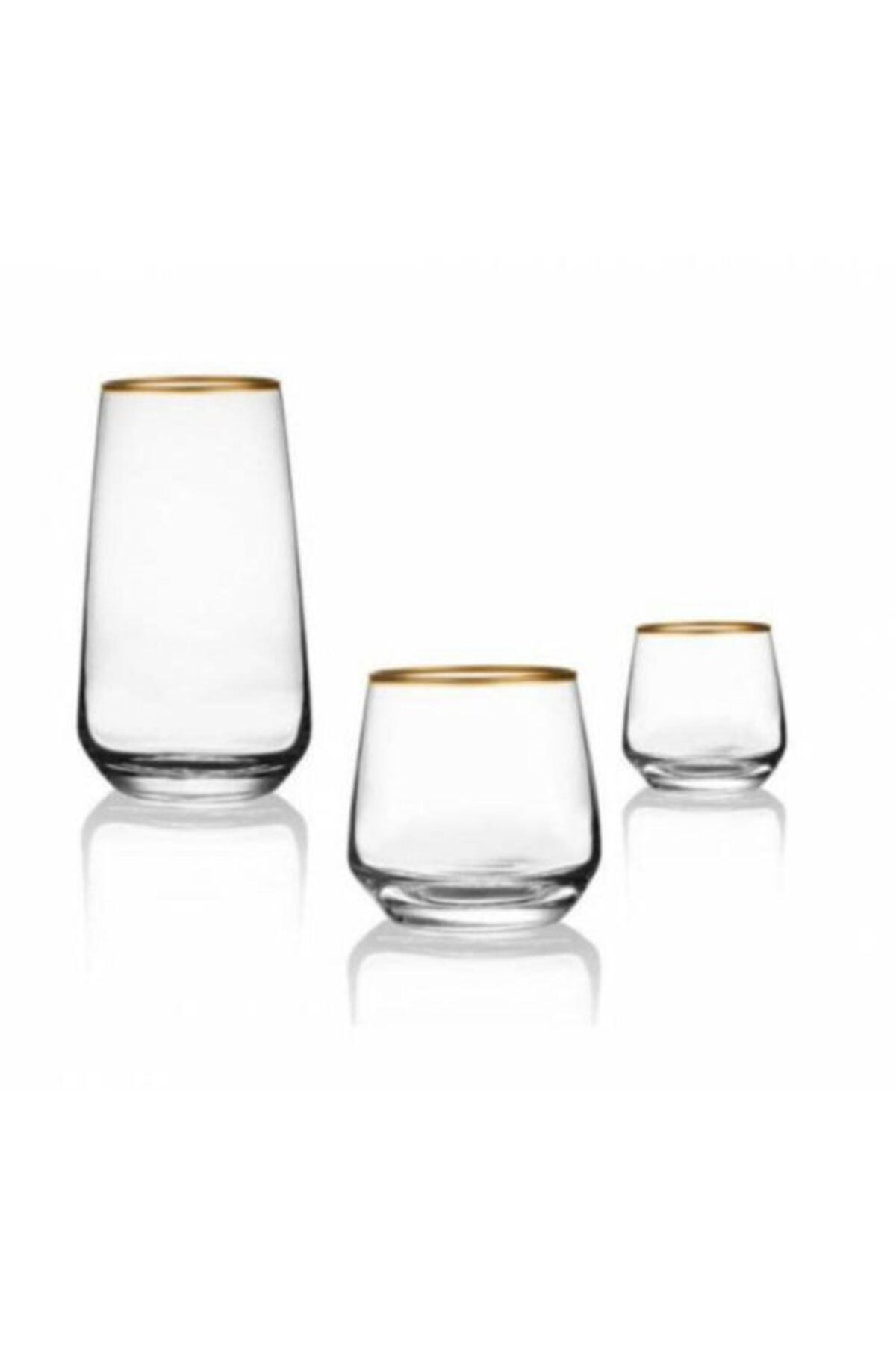 Lal 18 Parça Gold Meşrubat, Su Ve Kahve Yanı Su Bardağı Seti