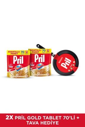 Pril Gold Bulaşık Makinesi Deterjanı, 70 Tablet 2'li Set + 22 cm Papilla Tava Hediyeli 0