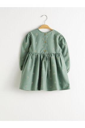 LC Waikiki Kız Bebek Yeşil Baskılı Lrr Elbise 1