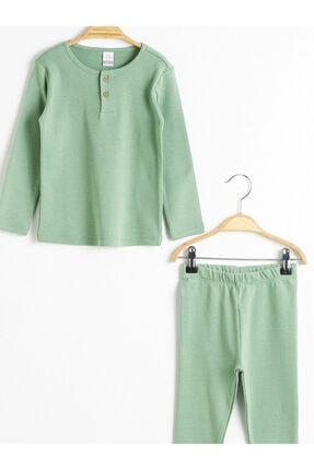 LC Waikiki Kız Çocuk Mat Yeşil Qtz Pijama Takımı 2
