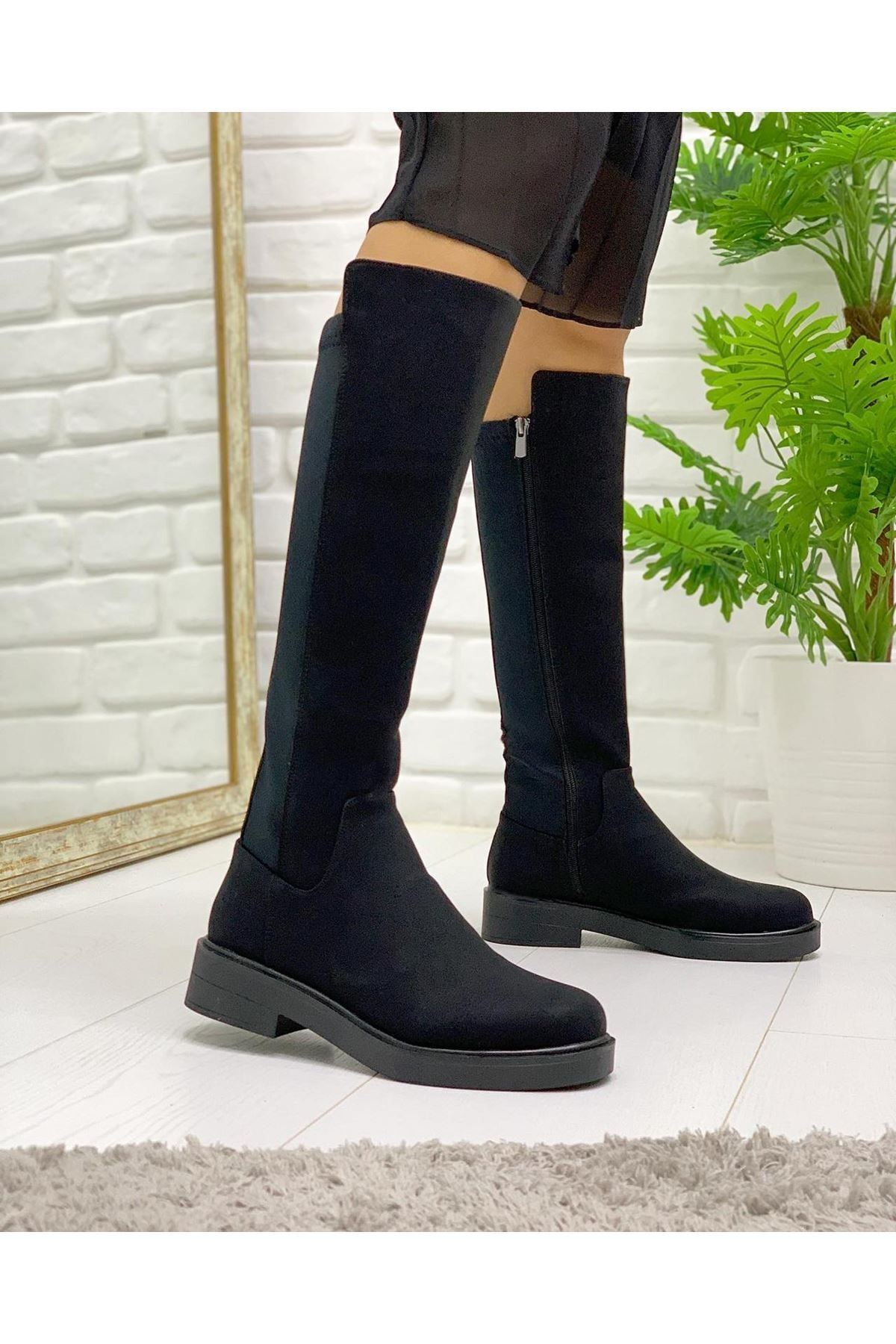 Pabuç Kadın Siyah Streç Çizme