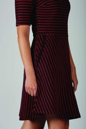 Blue Miles Kadın Kırmızı Lacivert Çizgili Bele Oturan Elbise 1