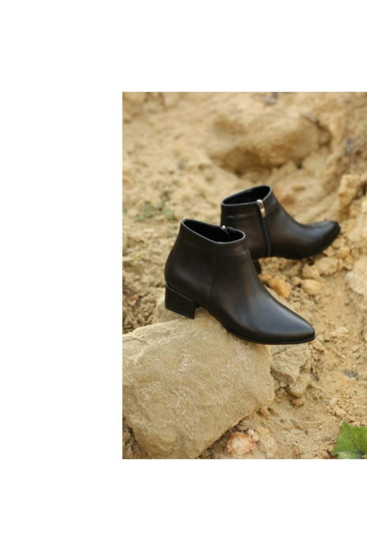 WoW Ayakkabı Kadın Siyah Cilt Bot