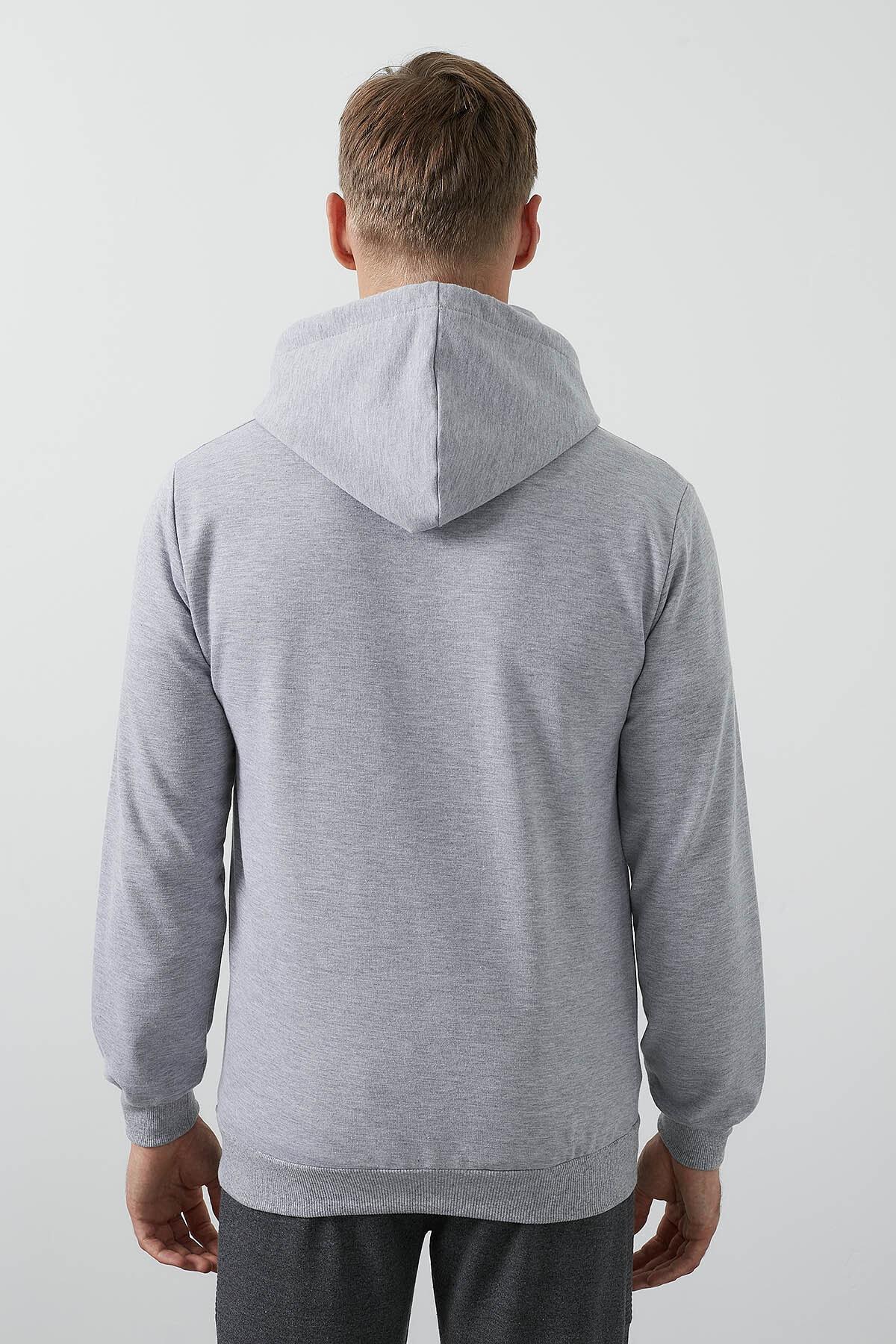 Buratti Erkek Gri Ön Beden Baskılı Kapüşonlu Cepli Standart Fit Sweatshirt 541HUMAN 4