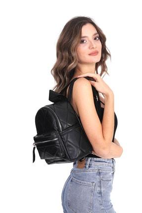 Top All BAG Kadın Siyah Kapitone Mini Sırt Çanta 1