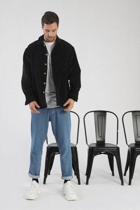 dAcollection Erkek Siyah Oversize Fitilli Kadife Gömlek 1