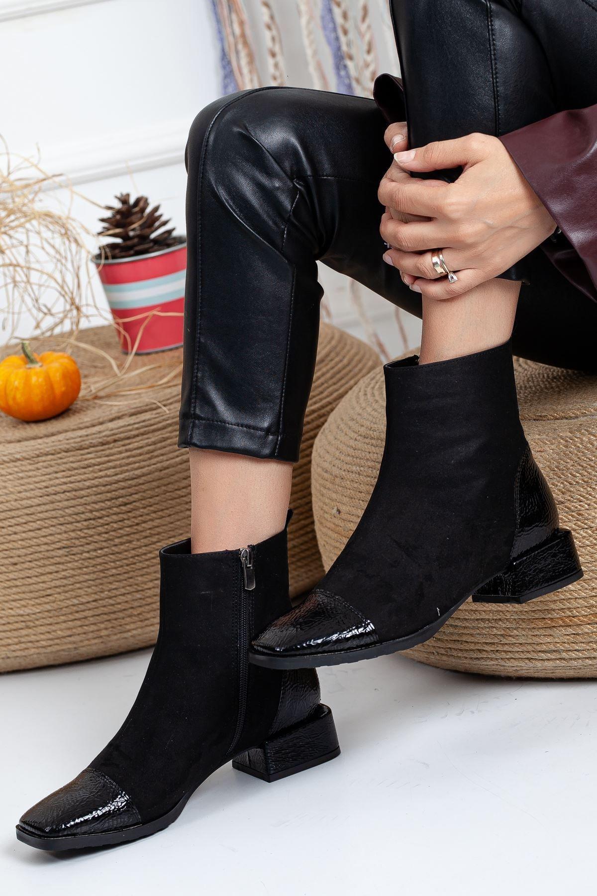 Ayakkabı Frekansı Kadın Siyah Ronex Bot Süet