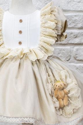 JBK JUST BABY AND KIDS STORE Kız Bebek Bej Dantelli Ayıcıklı Kabarık Etek Elbise 1