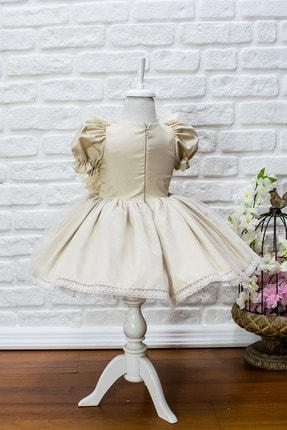JBK JUST BABY AND KIDS STORE Kız Bebek Bej Dantelli Ayıcıklı Kabarık Etek Elbise 2