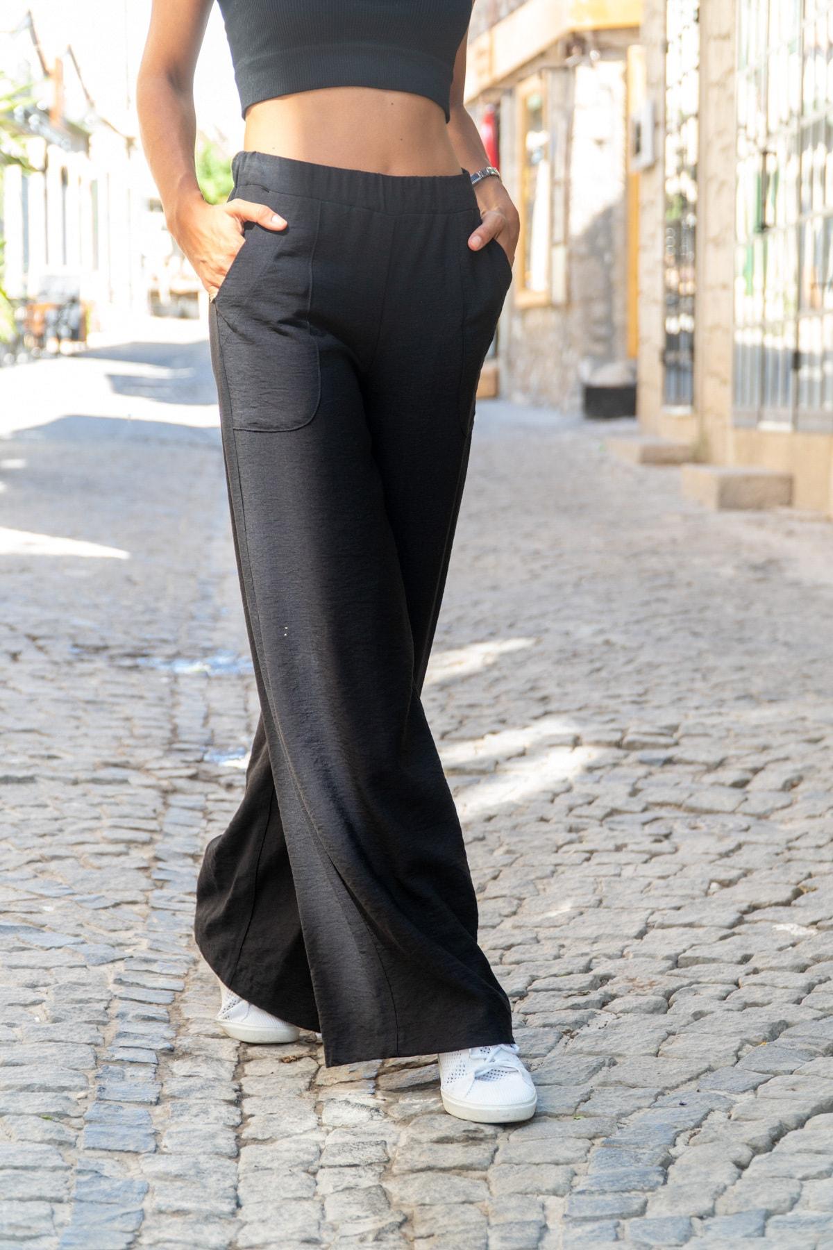 Güneşkızı Kadın Siyah Keten Beli Lastikli Salaş Pantolon GK-BST2933 0