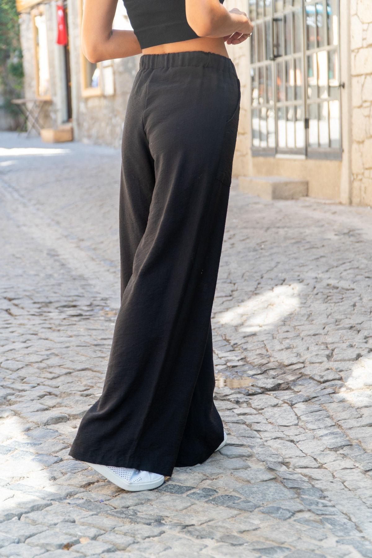 Güneşkızı Kadın Siyah Keten Beli Lastikli Salaş Pantolon GK-BST2933 1