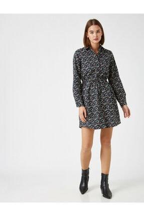Koton Kadın Lacivert Pamuk Çiçekli Kisa Elbise 1