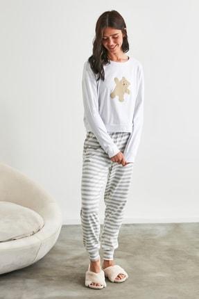 TRENDYOLMİLLA Gri Ayı Baskılı Örme Pijama Takımı THMAW21PT0302 1