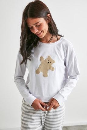 TRENDYOLMİLLA Gri Ayı Baskılı Örme Pijama Takımı THMAW21PT0302 2